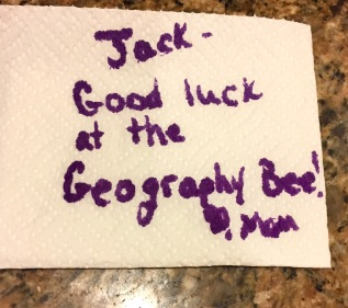 Good luck at the Geography Bee!